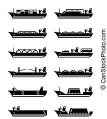 Merchant and cargo ships - vector illustration