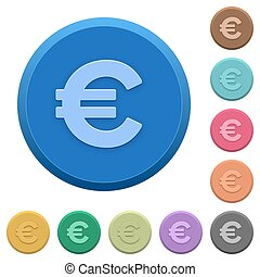 Embossed euro sign buttons - Set of round color embossed...