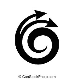 Spiral arrow, design element icon, simple style - Spiral...