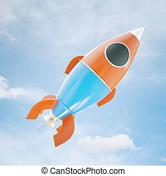 Rocket ship on sky background - Abstract red and blue rocket...