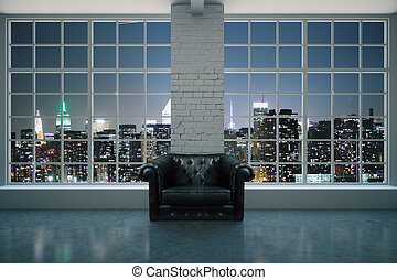 Black leather armchair in interior with brick column,...