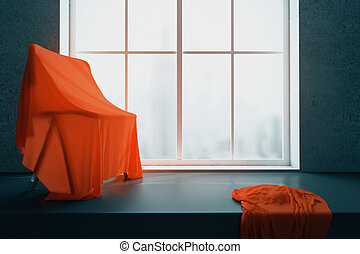 Chair under red cloth