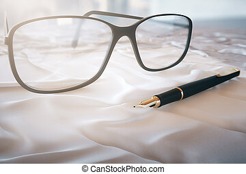 Glasses and pen on a white cloth 3D Rendering