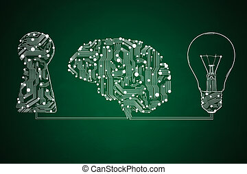 keyhole, lamp and circuit board in form of human brain