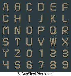 A set of letters and numbers, vector illustration.