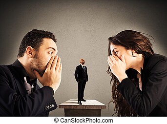 Business suggest - Businessman listens to a woman and a man