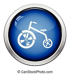 Baby trike icon. Glossy button design. Vector illustration.