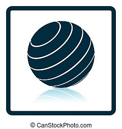Icon of Fitness rubber ball Shadow reflection design Vector...