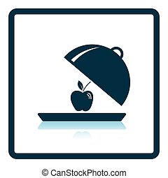 Icon of Apple inside cloche Shadow reflection design Vector...