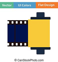 Photo cartridge reel icon Flat color design Vector...