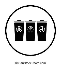 Garbage containers with separated trash icon Thin circle...