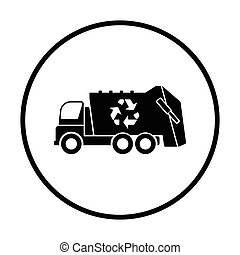Garbage car with recycle icon Thin circle design Vector...