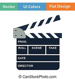 Clapperboard icon. Flat color design. Vector illustration.