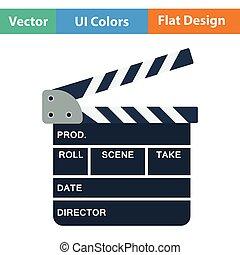 Clapperboard icon. Flat color design. Vector illustration.