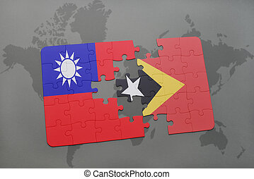 puzzle with the national flag of taiwan and east timor on a world map background.