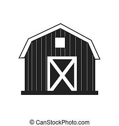 farm barn house icon, vector illustration icon - farm barn...