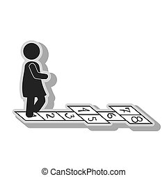 Kid playing puzzle game in black and white colors, isolated...