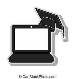 elearning pc graduation in black and white colors, isolated...