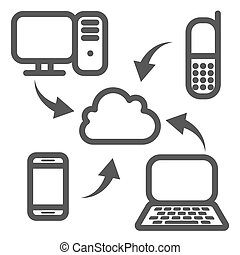 Cloud synchronization icon. Collect online information from...