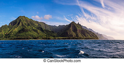 Panoramic view of Na Pali coast from the ocean, Kauai
