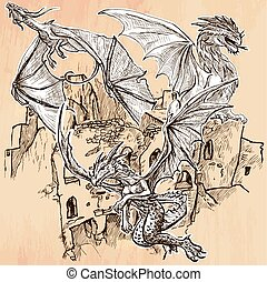 Dragons - An hand drawn vector Line art - DRAGONS flying...