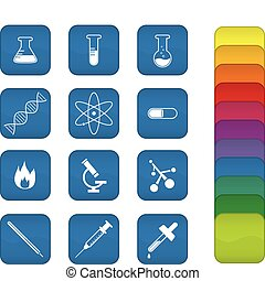 Chemistry Icons - A set of chemistry icons with blue...
