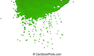 green paint dripping down over screen Isolated on white...