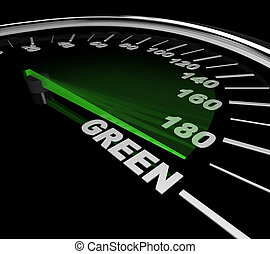 Green Car - Speedometer - The needle on a speedometer points...