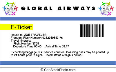 Airline e-Ticket - An airline e-Ticket with logo and copy