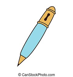 Pencil drawing object - Pencil in blue and yellow colors,...