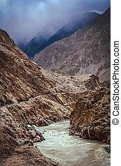 Dangerous road in Karakorum