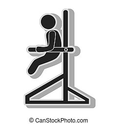 Male trainning gym , isolated flat icon with black and white...