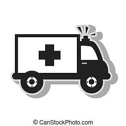Medical ambulance emergency , isolated flat icon with black...
