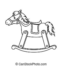wooden horse toy icon vector illustration - wooden horse toy...