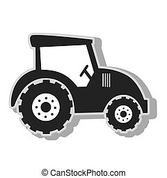 Farm tractor vehicle , isolated flat icon with black and...