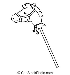 Wooden stick horse toy icon vector illustration - Wooden...