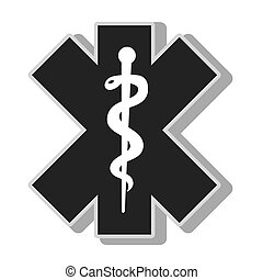 medical caduceus symbol , isolated flat icon with black and...