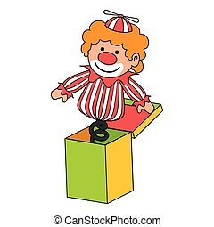 clown suprise box toy icon vector illustration - clown...