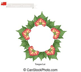 Tonga Lei or Tongan Heilala Flowers and Leaves Garland -...