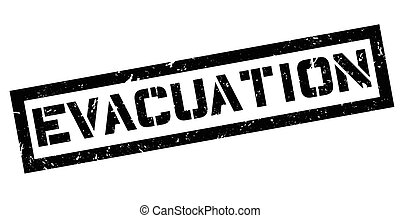 Evacuation rubber stamp on white. Print, impress, overprint.