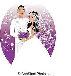 Bride Groom 5 - Vector Illustration. A beautiful bride and...