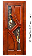 wooden door with stained glass isolated on white background