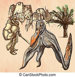 Knight and Pterosaur (Dragon) - A Knight slaying the Dragon...