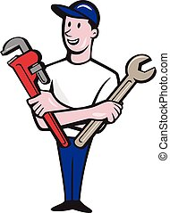 Handyman Spanner Monkey Wrench Cartoon - Illustration of a...