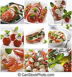 Mozzarella collage - Fresh salads collage made from nine...