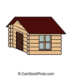 Wooden house camp icon vector illustration design