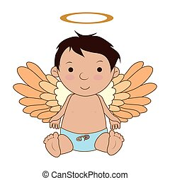 Baby angel cartoon icon vector illustration