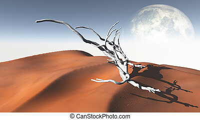 Red Sand Flat Desert with Moon
