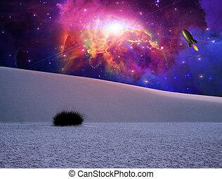 fantasie, weißes, Sande, landschaftsbild