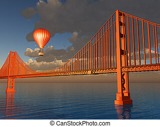 Hot Air Balloon and Golden Gate Bridge